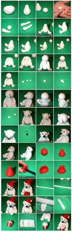 Polar bear fondant tutorial