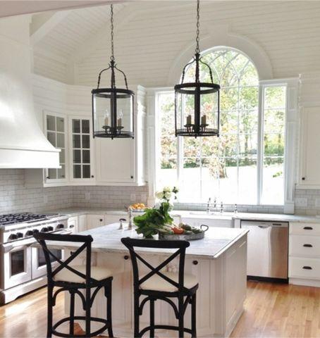 white kitchen black accents - White Kitchen Ideas