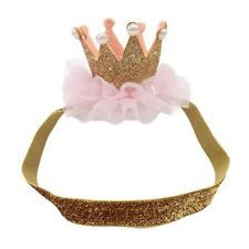 Girls Tiara Crown Head/hairband 1st Birthday Princess Props Cake smash Photo