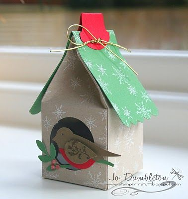 Birdhouse free template - would make fab wrapping!