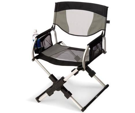 This Portable Directoru0027s Chair Folds To About The Size Of A Laptop And  Stores In An Easy To Carry Messenger Bag. Features Telescoping Legs And A  Folding ...