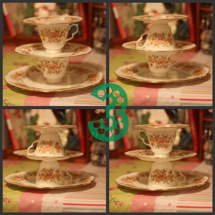 DIY tiered tea tower or cake stand out of teacups dessert plates and a saucer & 114 best Crafts-Letu0027s Make Cake Stands images on Pinterest | Cake ...
