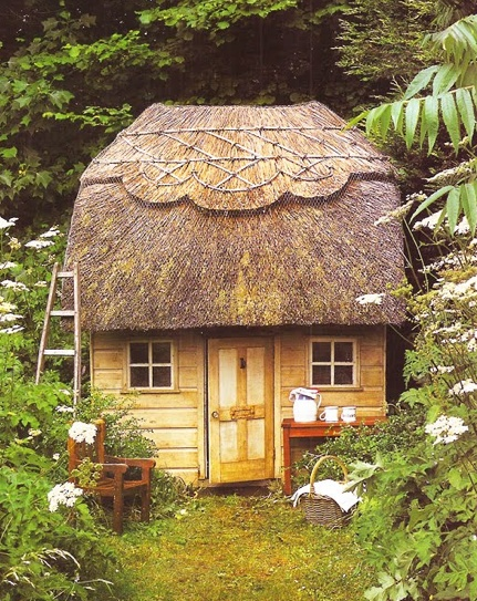 Thatched Roof Cottage Playhouse Kids Playthings