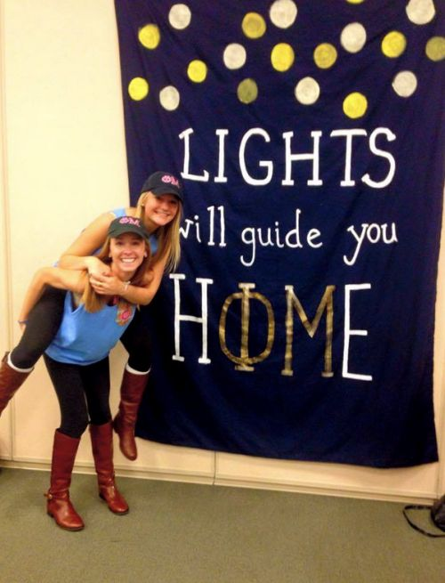 Lights will guide you home (Phi Mu blanket idea)