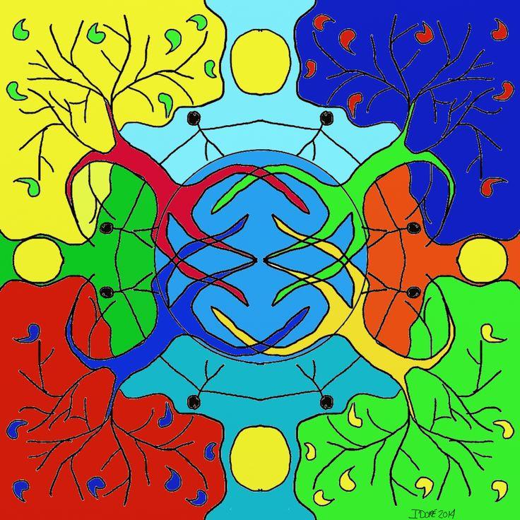 One World mandala, peace, healthy planet.