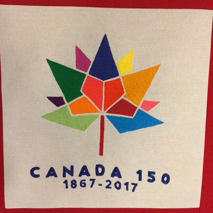 Canada 150 symbol, hand embroidered.