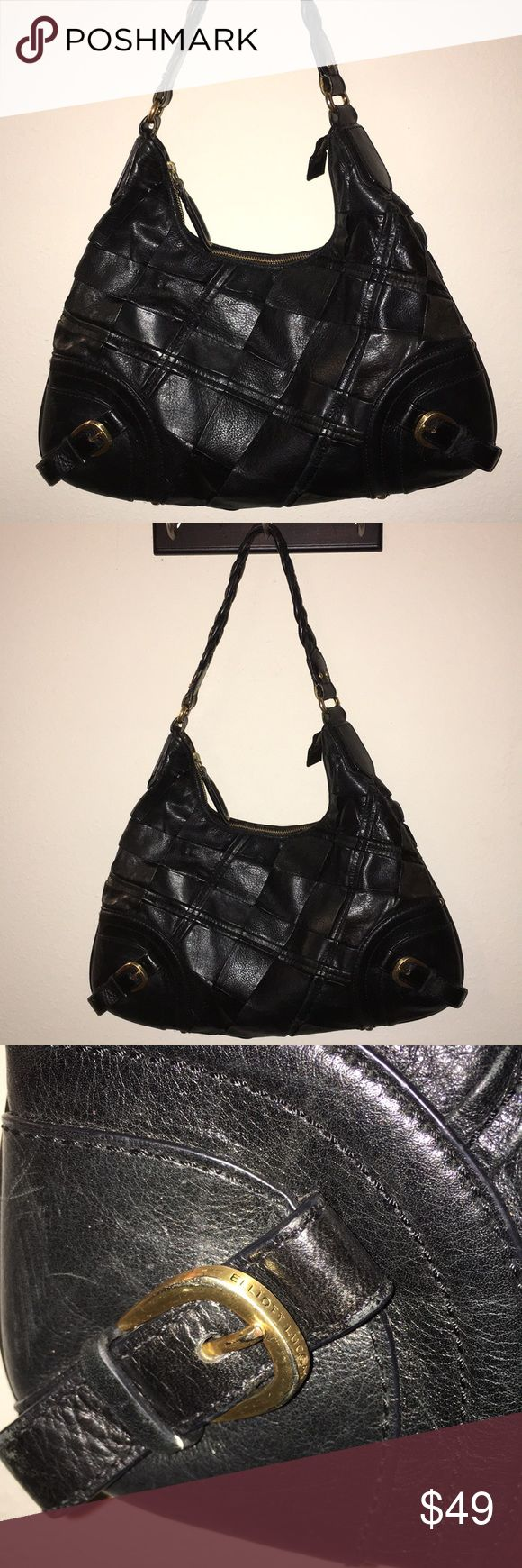 """ELLIOTT LUCCA Black Leather Hobo shoulder Bag This is a ELLIOTT LUCCA Black Leather Hobo shoulder Bag purse with a braided strap! Clean inside and out! Measures 16""""x10"""", I ship fast! Happy poshing friends! Elliott Lucca Bags Shoulder Bags"""