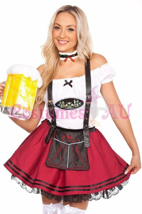 Oktoberfest Beer Maid Wench Costume Gretchen Halloween Cos Women/'s Fancy Dress
