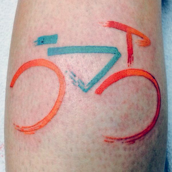 Mens Modern Art Bicycle Tattoo On Thighs