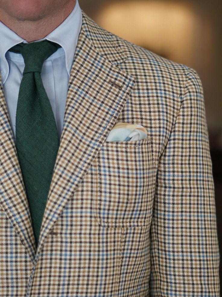 Gun club check jacket, light blue shirt, green tie