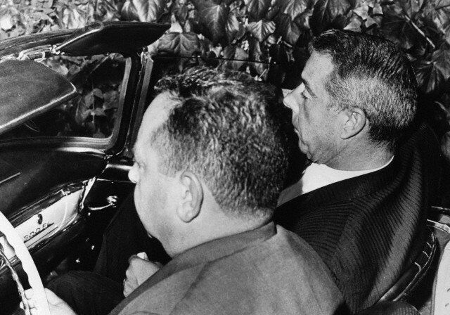 Joe DiMaggio being driven to or from Marilyn's funeral - 8th August 1962