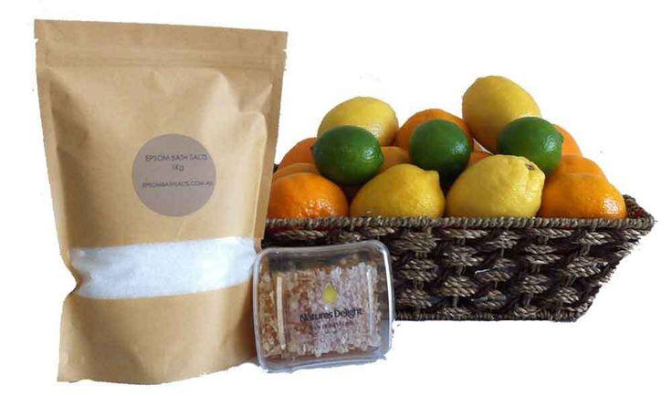 FRUIT HAMPERS + FRUIT BASKETS - FREE DELIVERY  igiftFRUITHAMPERS.com.au - Get Well Raw Honeycomb   Citrus Fruit Gift Basket   1Kg Epsom Bath Salts, $79.00 (http://www.igiftfruithampers.com.au/get-well-raw-honeycomb-citrus-fruit-gift-basket-1kg-epsom-bath-salts/)