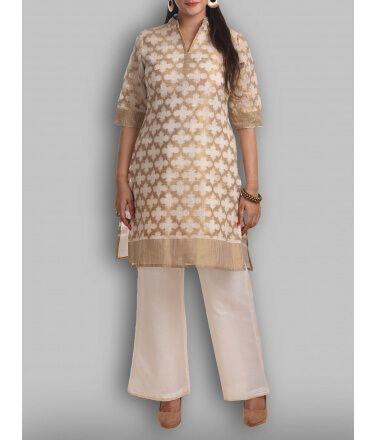 Banarasi Chanderi Brocade off White and Gold Kurti