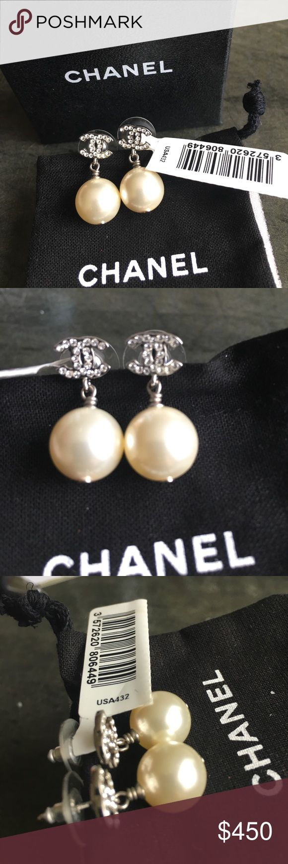 """Chanel Earrings Authentic Chanel Studded CC's Pearl Drop Earrings.  Brand new.  Tags included.  Earrings measure approximately 1"""" from top to bottom.  Earrings are from Chanel Costume jewelry collection 12C A36138YO2005.  Chanel box and dust pouch included.  Classic Chanel makes even a t-shirt stunning. CHANEL Jewelry Earrings"""