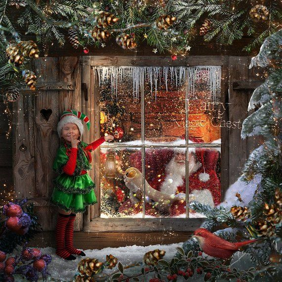 Santa S Window Digital Background Christmas Digital Backdrop Santa Is Reading The List Of Gifts For Children Great For Kids Photography Christmas Scenes Christmas Photography Christmas Art