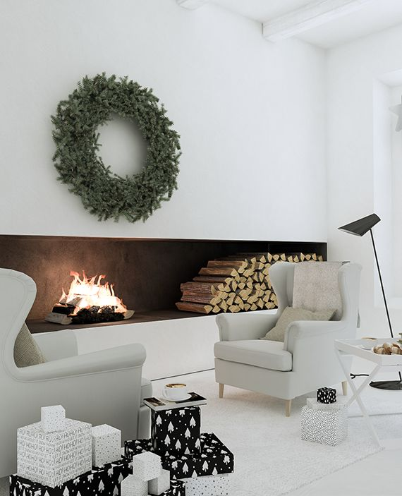 Minimalistic winter cabin Christmas decor