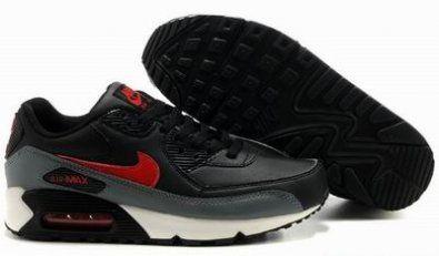 Nike Air Max 90 zapatillas de negro / rojo / gris http://www.esnikerun.com/
