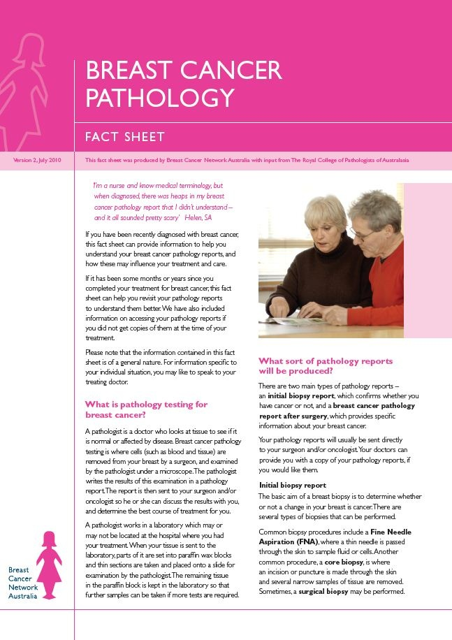 Breast Cancer Pathology Fact Sheet - a six page fact sheet about breast cancer pathology, produced by BCNA with input from The Royal College of Pathology of Australasia.