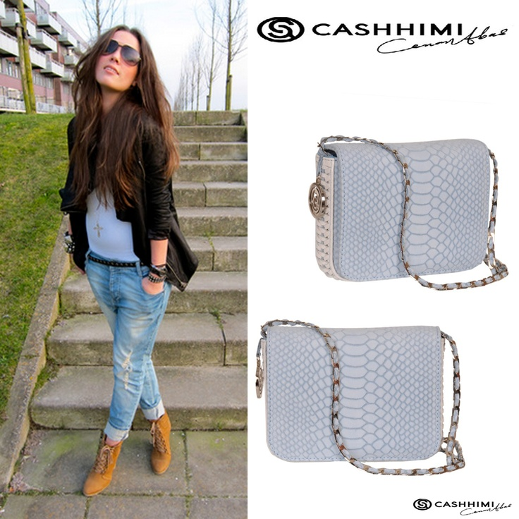 Cashhimi Light Blue DOWNING  Leather Clutch
