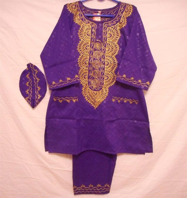 Dashiki Men's Pant Suit African Set Fashion Brocade Outfit Purple Gold Plus Size #Handmade #TraditionalRayonwithBrocadeprintSuit
