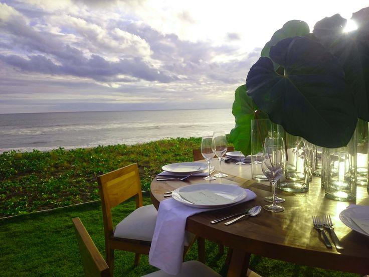 Our Contemporary Teak Chair & Contemporary Teak Table set, oceanfront at Villa Ombak Biru
