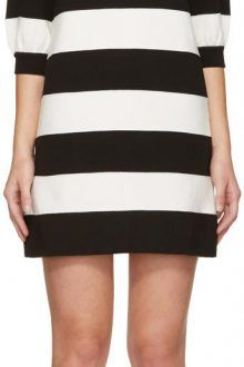 Marc Jacobs Black and White Striped Puff Sleeve Dress 220x330 The best black and white dresses for any occasion