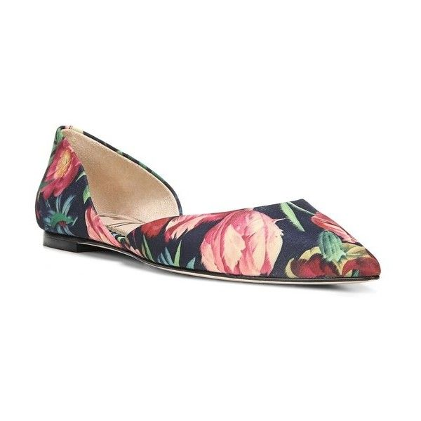 Women's Sam Edelman Rodney Pointy Toe D'Orsay Flat ($70) ❤ liked on Polyvore featuring shoes, flats, navy multi fabric, navy blue shoes, pointy toe flat shoes, pointy toe d orsay flats, navy d orsay flats and navy flat shoes