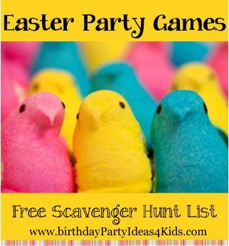 Easter Party Games and Activities for Kids, Tweens and Teen parties!  Fun and unique Easter themed party games, free scavenger hunt list and more!   http://www.birthdaypartyideas4kids.com/Easterpartygames.htm