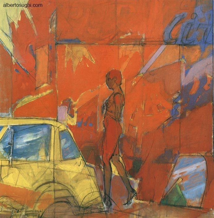 Alberto Sughi - Donna in citta', Olio su tela, 90x90cm, 1992,