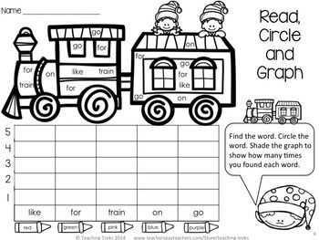 FREE Christmas fun! Read, count and graph the sight words on the toy train!