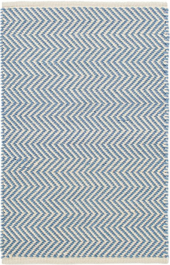 """#DashandAlbert Arlington French Blue/Ivory Indoor/Outdoor Rug. You'll say """"Oui, oui!"""" to this indoor/outdoor rug featuring a country-cool French blue and ivory zigzag pattern. Made of durable, easy-care PET, it's the perfect floor covering for the kitchen, hallway, bedroom, or porch."""