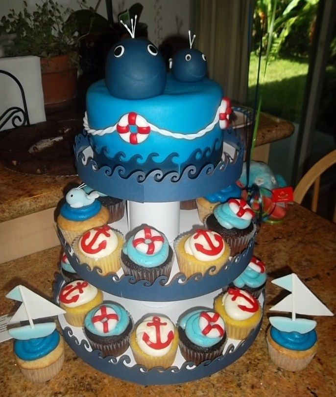 Nautical cupcakes for a baby shower