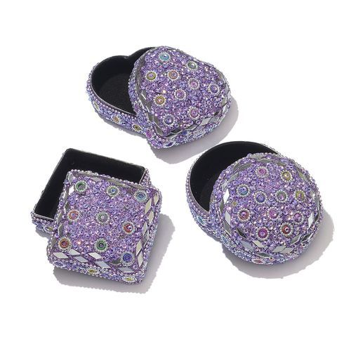 DOD - Set of 3 - Hand Crafted Square, Round and Heart Shape Lavender Colour Jewellery Box Decorated with Multi Colour Beads (Size 7x4 Cm)