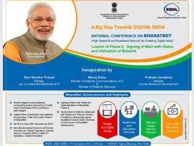 Centre to launch BharatNet phase II today  BharatNet Centre's flagship rural connectivity project will launch the second phase of the project under which 150000 gram panchayats would be connected with optic fibre cable (OFC). In the National Conference on Signing of MoU with States and Utilisation of Network will be held at Vigyna Bhavan with states and service providers.  National Conference on BharatNet Courtesy: @DoT_India  In the first phase of the project 100000 gram panchayats were…