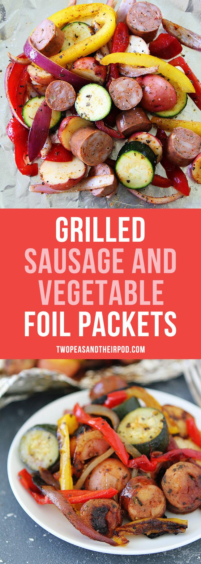 Grilled Sausage and Vegetable Foil Packets make a great summer dinner. They are easy to make and the clean up is a breeze. Tin foil dinners are a summer favorite!