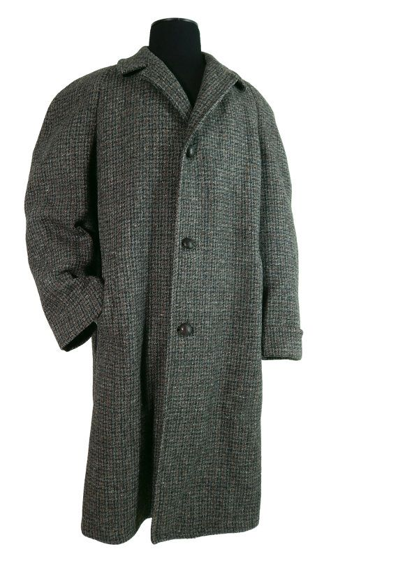 1950s Vintage Harris Tweed Men S Coat Overcoat Raglan