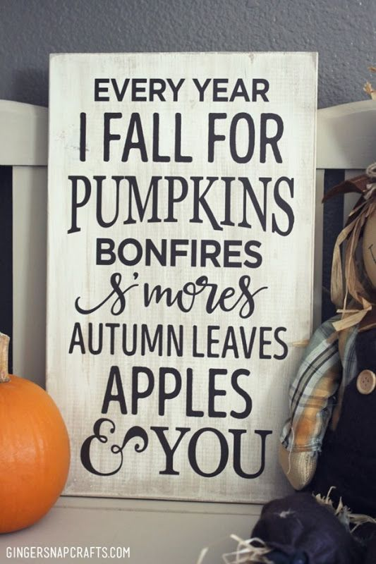 Every year I fall for pumpkins, bonfires, s'mores, autumn leaves, apples & you