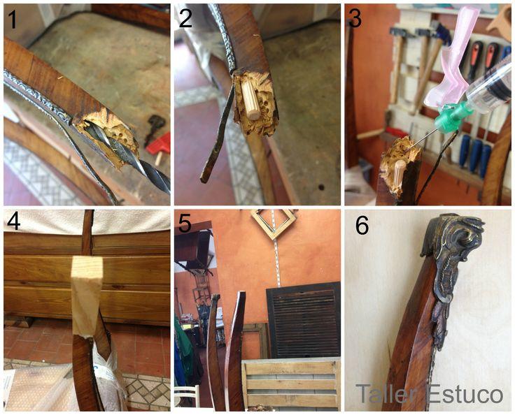 """""""Restauración de la rotura de una pata"""" 1.Se hace el agujero con una broca. 2.Se inserta y se encola una espiga. 3. Se inyecta Paraloid B-72 en los agujeros de carcoma para consolidar la madera. 4.Se acopla una pieza de madera a la espiga. 5.Con un formón se da forma a la pata. 6.Se tiñe la pieza hasta conseguir el mismo color de la madera y se aplica goma laca. #RestauraciónMuebles"""