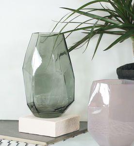 Grey Geometric Glass Vase - vases