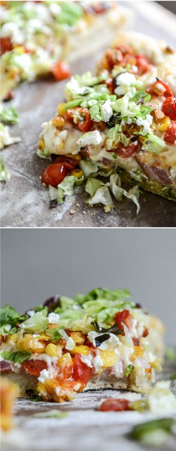 BLT Pizza with Grilled Corn + Crumbled Feta I howsweeteats.com