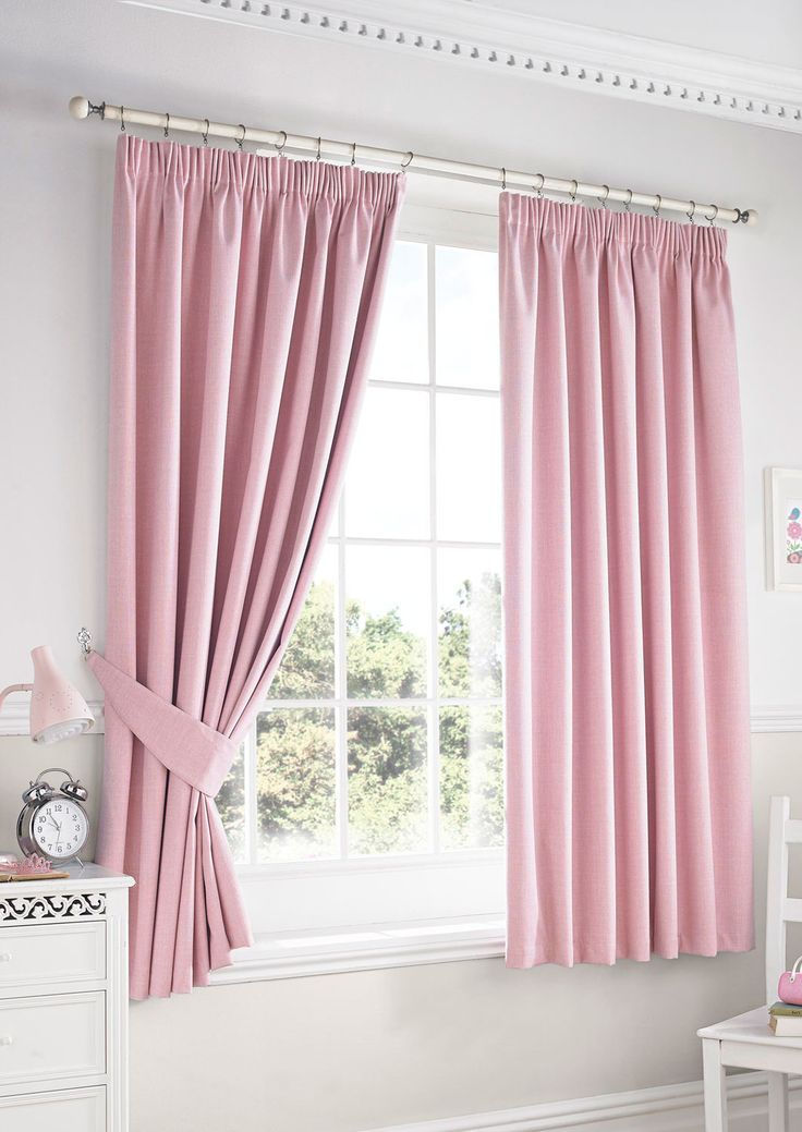 Darwin Blackout Pink Pencil Pleat - Plain pink curtains suitable to evoke a feminine, romantic feel in a room.