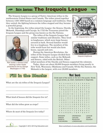 Worksheets: Native American Tribes: The Iroquois League