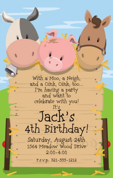 Barnyard Party Invitation by Paper So Pretty ~  Having a barnyard birthday? This birthday invitation features a trio of adorable farm animals: a cow, a pig and a horse. All three peeping their heads over the wooden fence where the messaging is displayed. Set on against a grassy, green hill, and is ideal for any farm themed birthday party!