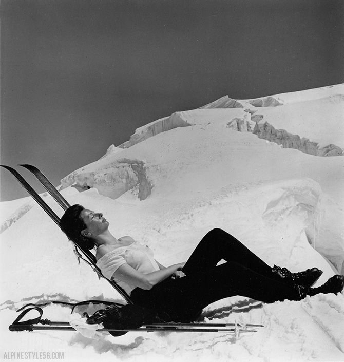 7/21/1966 Press Photo:  SUN AND SKI.  A summer skier basks in the snow on 11,000 foot Mt. Rosa, in Cervinia, Italy.