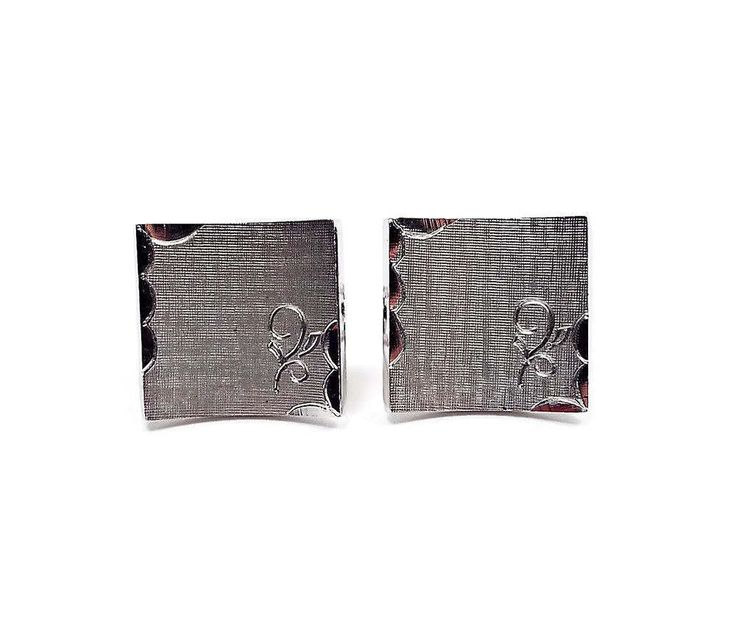 Swank Brushed Silver Tone Curved Square Vintage Cufflinks