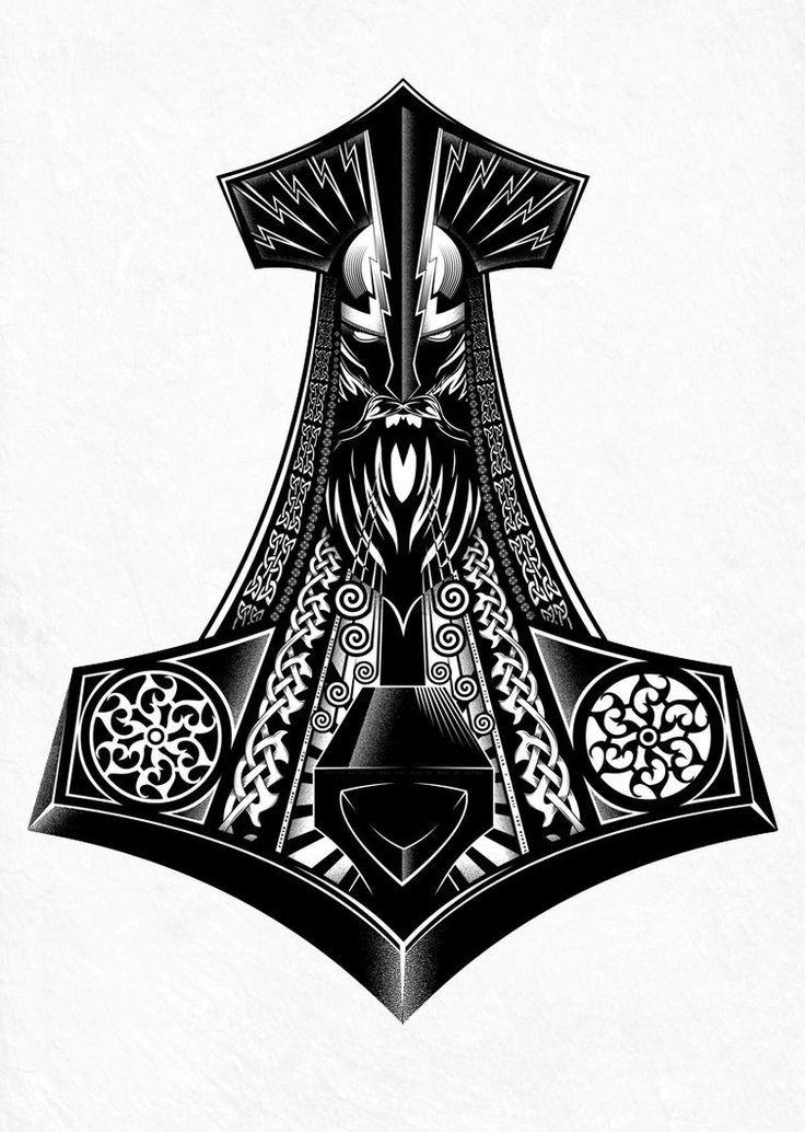 Afbeeldingsresultaat voor thor hammer tattoo