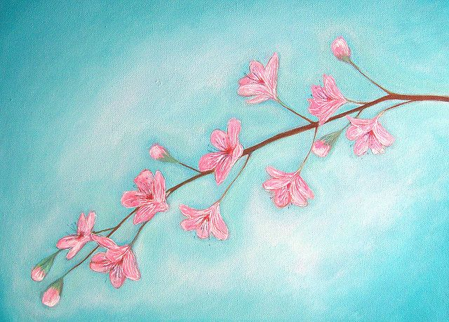 Easy acrylic canvas painting cherry blossom original for Simple cherry blossom painting
