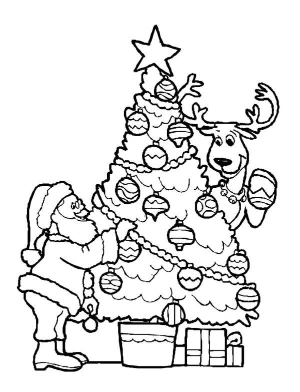 Christmas Santa Decorating Christmas Tree With The Reindeer Coloring Pa Christmas Tree Coloring Page Printable Christmas Coloring Pages Santa Coloring Pages
