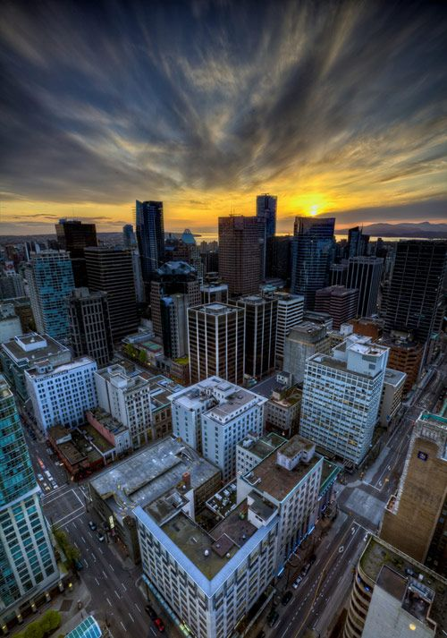 Vancouver Sunset from above Downtown