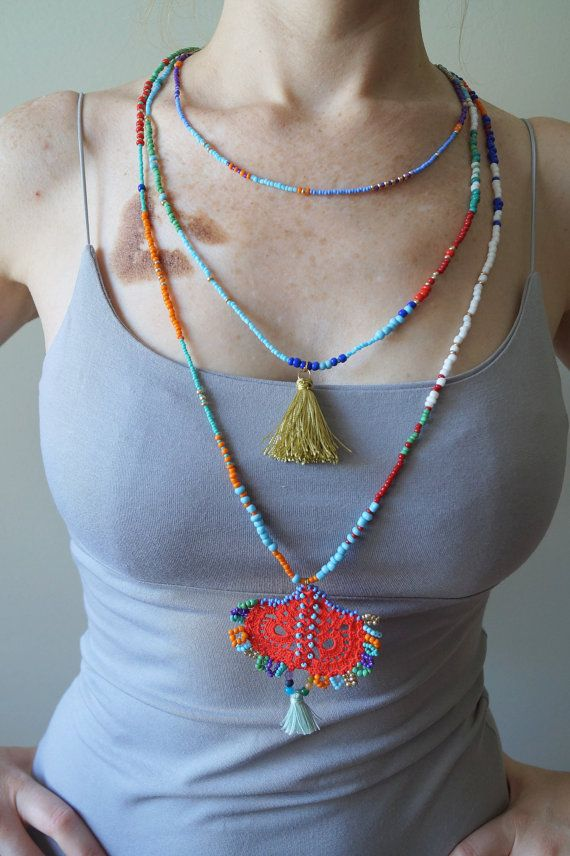 AUTHENTIC necklace / dangle chunky necklace / lace by sestras